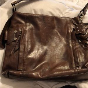 Rina Rich Faux Leather Brown Purse